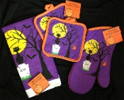 Halloween Theme Spooky-DISH CLOTH HAND TEA TOWEL POT HOLDERS OVEN MITT-Kitchen Set-4-pc Haunted House Decorations. Purple Black Orange color printed design of dead tree, black cat, vampire bats, wicked spider, haunted yellow moon, RIP tombstone