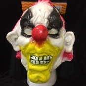 Evil Circus Carnival CLOWN Scary Halloween Cosplay Costume HOODED LATEX RUBBER HORROR MASK Creepy Gothic Mardi Gras Masquerade Evil Monster Demon Ghoul Costume Accessory-UNISEX ADULT. Full Over Head Horror Mask Dummy Prop with Attached Costume Hood.