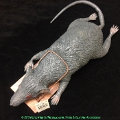 EEK! Big Scary Realistic DEAD RAT IN A TRAP Static Foam Filled Latex Gray Rodent Appears to be Caught in a Removable Brown Wooden Trap. Give a Real Scare with this Spooky Halloween Haunted House Horror Prop Creepy Critter - 28-inch Long, Nose to Tail