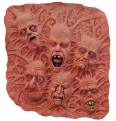 Huge Creepy Realistic SLATE of SOULS LATEX WALL DECORATION Scary Horror Prop Deluxe Detailed Dimensional Tortured Mutant Shrunken Heads with Anguished Faces. Spooky Halloween Haunted House Dungeon Door Torture Room Decor. Large Size - 2-Feet Diameter