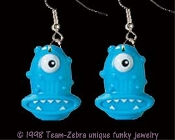 Huge Funky One-Eyed ALIEN MONSTER EARRINGS-Martian Cyclops Rave Creepy Creature Novelty Costume Jewelry-BLUE