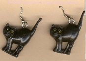 Funky Big 3-d BLACK CAT EARRINGS - Scary Kitty with Arched Back Halloween Witch Dimensional Charm Novelty Costume Jewelry