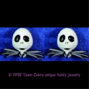JACK SKELLINGTON DANGLE EARRINGS - Nightmare Before Christmas - Gothic Accessory -E- Halloween Zombie Skeleton Pirate Charm Headhunter Witch Doctor Skulls Costume Jewelry