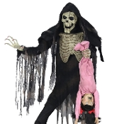 Huge Creepy Life Size Animated TOWERING BOOGEY MAN with KID Lights Spooky Sound Effects Deluxe Animatronics Monster Skeleton Demon Scary Halloween Haunted House Prop Decoration-7-FT TALL-Frightening giant size Boogeyman with Screaming Child! VIDEO