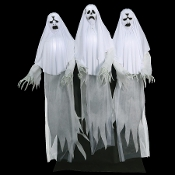 Life Size Standing Animated-HAUNTING GHOST TRIO-Light-up Faces Torsos Posable Arms-Swaying Scary Phantom Spirits with Spooky Sounds Moaning Effects Motion Activated Animatronics Creepy Halloween Haunted House Horror Prop Decoration-Step Here Pad-6-FT