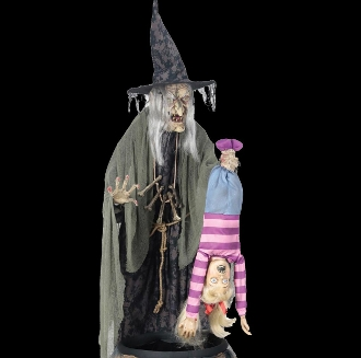 Huge Scary Life Size Standing Animated STEW BREW WITCH COOKING KID with FOG Lights Spooky Sounds Creepy Crone Torturing Child Victim Motion Activated Halloween Haunted House Horror Prop Animatronics Decoration - Potion's secret ingredient is a child!