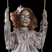 Deluxe Scary Hanging Animated Talking Vintage Style-SWINGING DECREPIT DOLL-Glowing Eyes Spooky Sound Effects Motion Activated Creepy Halloween Haunted House Horror Prop Decoration just wants someone to play with and promises not to hurt you... Much!
