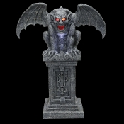 HUGE Dimensional Life Size Animated Gothic FAUX STONE RIP GARGOYLE with SOUND LIGHTS Scary Halloween Haunted House Horror Prop Spooky Cemetery Graveyard Creepy Crypt Keeper Tombstone Yard Decoration-with Fog Hose Accessory-Machine NOT included-VIDEO!