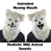 WHITE WOLF ANIMATED WILD ANIMAL MASK Moving Mouth Movable Jaw with Hand Held Push Button Activated Realistic Sound Effects Faux Fur Furry Furries Fandom ADULT Size Full Over Head Fancy Dress Halloween Cosplay Costume Party Accessory-Blue Eyes-VIDEO!