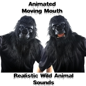BLACK JUNGLE GORILLA ANIMATED WILD ANIMAL MASK Moving Mouth Movable Jaw with Hand Held Push Button Activated Realistic Sound Effects Faux Fur Furry Furries Fandom ADULT Size Full Over Head Fancy Dress Halloween Cosplay Costume Party Accessory-VIDEO!