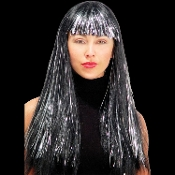 Gothic Long SHIMMERING BLACK with SILVER GLITSY GLAMOUR WIG Sexy Gothic Diva Lolita Punk Cosplay Costume Rockabilly Cosplay Halloween Costume Accessory. Straight ROCK STAR, face framing bangs. Glittery strands for a funky evil witch wizard vampire!