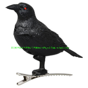 New Motion Sensor Realistic Cawing Sounds SPOOKY MINI CROW Motion Sensing Squawking Plastic Black Bird with Scary Red Eyes Clip-On Ornament Creepy Halloween Haunted House Prop Fall Harvest Autumn Thanksgiving Crafts Decoration