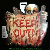 Double Sided Killer Clown Carnival Bloody Warning Sign - KEEP OUT - Halloween Costume Party Horror Prop Building Decoration Cemetery Graveyard Forest Ghost Haunt Door Plaque Wall Hanging Yard Decor Crafts-Indoor Outdoor PLASTIC