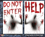 Giant Bloody Shadows Window Translucent Posters Signs TWO-Piece Set - HELP - DO NOT ENTER - Creepy Insane Asylum Halloween Costume Party Wall Garage Door Scary Psycho Haunted House Spooky Zombie Photo Booth Props Decorations