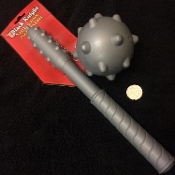 Safe Plastic Ball and Chain Gray Gothic Wicked MEDIEVAL MACE FLAIL Toy Weapon with Rounded Spikes - KIDS Renaissance Knight Crusader Soldier Warrior Barbarian Viking LARP Halloween Cosplay Costume Prop Accessory