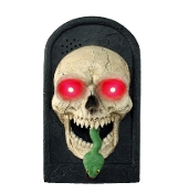 Animated Electronic Creepy TALKING LIGHT-UP SKULL DOOR BELL Spooky Sounds Scary Jump Out Snake Blood Red LED Eyes Halloween Party Bar Doorbell Haunted House Prop Door Decoration - 3 Phrases - Heavyweight Resin