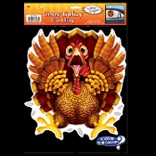 Funny CRAZY WILD TURKEY CAR CLING Backseat Window Decal Thanksgiving Christmas Holiday Bathroom Wall Hanging Birthday Locker Halloween Prop Decor. Hysterical party decoration! Whimsical gag traditional cartoon holiday bird running for his life!