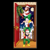 Funny Santa Elf Totem CHRISTMAS ELVES DOOR COVER Holiday Fantasy Mural Decoration Window Poster Photo Booth Backdrop Wall Hanging Birthday Party Whimsical Scene Setter Prop Decor Fun Theme Costume Party Create-a-Scene Setter or Table Cloth Cover