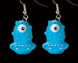 Huge Funky BLUE ONE-EYED ALIEN CYCLOPS MONSTER EARRINGS - Creepy Creature Jewelry