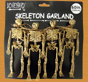 5-foot long Spooky Gothic Decor MINI HUMAN SKELETON SKULL GARLAND SWAG Four-Figures Haunted House Cemetery Graveyard Crypt Halloween Cosplay Costume Accessory Pirate Theme Party Prop Building Window Door Table Decorations Crafts Supplies-BONE