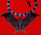 Huge BAT AMULET NECKLACE - GIANT Black & Brown Halloween Dracula Gothic Pendant Cosplay Jewelry - Cool classic goth accessory for Halloween Costume Party, Twilight Dark Shadows fan, Elvira wanna-be or Vampire Collector.