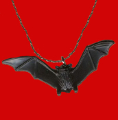 BLACK BAT PENDANT AMULET NECKLACE - Halloween Twilight Vampire Goth Plastic Dracula Symbol Scary Charm with Outspread Wings. Cool classic gothic accessory for Halloween Costume Party or Vampire Collector.