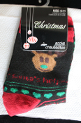 Novelty SANTA HELPER REINDEER CREW SOCKS Fun Holiday Clothing Apparel Costume Accessory-Unisex Adult Women Boys Girls- Black Stockings, Red Wording, Green Heart Print. UNISEX (Women's Size 9-11) Cute Christmas Gift!