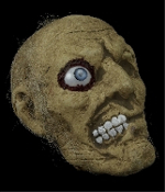 Severed Human Skull ONE-EYED JACK ROTTING MUMMY ZOMBIE HEAD with One Crazy Eye Just hanging around for fun! Slightly smaller than Life-size but no longer living rotten victim's head has straggly hair, awful smile and weird eye that you won't forget.