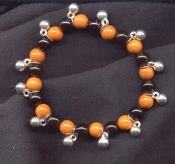 Funky BEADS STRETCH BRACELET - Great-for-Charms - Orange/Black/Silver - Team Fan Novelty Halloween Costume Jewelry