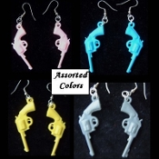 Funky Vintage GUNS EARRINGS Retro Punk Novelty Western Cosplay Costume Jewelry - ONE PAIR- HAND GUN REVOLVER EARRINGS. Mini Cowboy Toy Weapon PISTOLS. Miniature Plastic Dimensional Gumball Prize Vending Novelty Charms. Go COWGIRL! 1, assorted color.