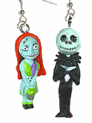 JACK SKELLINGTON & SALLY EARRINGS - Nightmare Before Christmas - B - Gothic Punk Monster Costume Jewelry Accessory - Halloween Zombie Skeleton Pirate Charm Headhunter Witch Doctor Skull Costume Jewelry