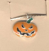 JACK-O-LANTERN NECKLACE-Enamel Halloween Pumpkin Jewelry-SCARY Orange Enamelled Metal Charm