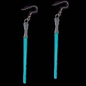 Funky Star Wars JEDI LIGHTSABER EARRINGS - Cosplay Sci-Fi Costume Jewelry -BLUE