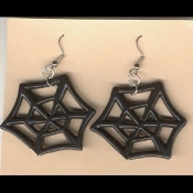 Black Widow SPIDER WEB EARRINGS - Halloween Gothic Emo Wicca Witch Charm Jewelry
