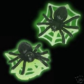 Huge SPIDER and WEB BUTTON EARRINGS - Halloween Glow in the Dark Costume Jewelry - Gothic, Wicca, Punk, Witch SPIDER with WEB (GLOWS WHEN EXPOSED TO BRIGHT LIGHT. NO BATTERIES NEEDED)