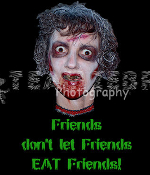 Gothic Zombie FRIENDS DON'T LET FRIENDS EAT FRIENDS T-SHIRT The Walking Dead Halloween Costume Party Unisex Punk Ghoul Novelty Tee – Soft white short-sleeve cotton top. Youth Child Kid size. Exclusive design Creepy Graphic Horror Funny Apparel