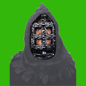Medieval Gothic Cosplay - IRON CAGE HEAD HOODED MASK - Renaissance Halloween Costume Accessory-Realistic Prop with Heavy Plastic Cage and Attached Hood-Party Decoration, Horror Decor, Dungeon Scene or Renaissance Reenactment- Just add cape or robe!