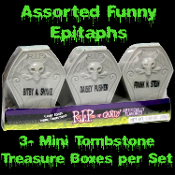 3-Pack Novelty Gothic REST IN PIECES BONES CANDY FILLED TOMBSTONES Halloween Party Favor Over-the-Hill Treat Gag Gift. Spooky plastic tombstones with funny messages conceal tiny white bone-shaped fruit flavored sweet tart type candies hidden inside.