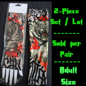 PAIR-Gothic Punk-TIGER TRIBAL FLAMES-TATTOO SLEEVES ARM WARMERS-Biker Rockabilly - Pirate Skater Fake Temporary Asian Jungle Safari Design - Steampunk Novelty Cosplay Halloween Costume Accessory