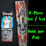Funky Gothic Tribal-SKULL FLAMES TATTOO SLEEVES-Punk Biker Skater Pirate Theme Arm Warmer Sleeve Cosplay Costume Accessory-Multi Color-KIDS Size Large-One PAIR Set
