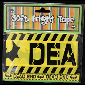 Gothic Vampire Bat--DEAD END--Fright Caution Tape-Halloween Costume Party Haunted House Horror Prop Building Decoration POLICE BARRICADE Border-30 feet long. Spooky cemetery, graveyard, dungeon, torture chamber decor!