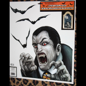 Gothic Horror Monster Props - DRACULA VAMPIRE BATS - Haunted House Halloween Decorations Wall Grabber Window Clings Car Decals Door Stickers Create Scene Setter
