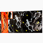 Plastic TABLE COVER CLOTH DANCING BOO-GIE SKELETONS Horror Halloween Decoration Cemetery Graveyard Haunted House Gothic Witch Pirate Theme Birthday Party Kitchen Dining Room Backdrop Scene Setter Decor. Black, white print yellow moons and stars
