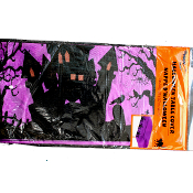 Spooky Trees Scene Setter-HAUNTED HOUSE TABLE CLOTH COVER-Gothic Horror Halloween Decoration-Multicolor Print Backdrop Scene Setter Costume Party Kitchen Dining Bar Decor-PURPLE and Black