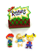 Nickelodeon-RUGRATS MAGNET ORNAMENT 4-piece SET-Tommy Chuckie Angelica-Craft Mini Figure MEMO BUDDY - Officially Licensed Nickelodeon Rugrats set includes: NotePad Holder Fenced Playpen , approx 3-inch wide x 3-1/2-inch high