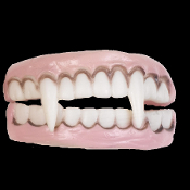 Undead Monster Horror Teeth VAMPIRE FANGS DENTURES Dracula True Blood-inspired Ghoulish Demon-Fanged Monster Creature Halloween Cosplay Costume Prop Accessory Prosthetic Makeup Special FX