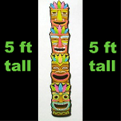 5-Ft Large Jointed Tropical Island TIKI MASK HEAD TOTEM POLE Figure Cut Out Beach Pool Luau Party Voodoo Wall Hanging Door Window Decoration. New 60-inch tall x 9-inch wide Cardboard Paper Bright Multi-Color Hawaiian Tahitian Tiki Bar Decor Cutout.