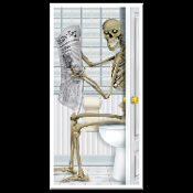 Funny Toilet Loo SKELETON on the POTTY BATHROOM DOOR COVER Shower Mural Restroom Wall Decor Create-a-Scene Setter Halloween Decoration. Haunted House Backdrop, Castle Scenery, Horror Prop Accessory. Whimsical Skeleton sitting on the commode reading.