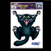 Car Window Mirror Cling Decal Sticker CRAZY BLACK CAT BACKSEAT DRIVER Funny Cheap Halloween Decorations Discount Birthday Party Supplies. Who's in your trying to escape your house or backseat? Feline Static Vinyl Cling. Fun wholesale Halloween props.