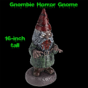 Scary funny bloody horror Gnome - GNOMBIE - Zombie lawn yard garden decor evil statue scares trespassers. Creepy 16-inch tall durable hollow plastic walking dead theme figurine. Haunted house Halloween prop decoration. Hands rotate, pose, eat BRAINS!